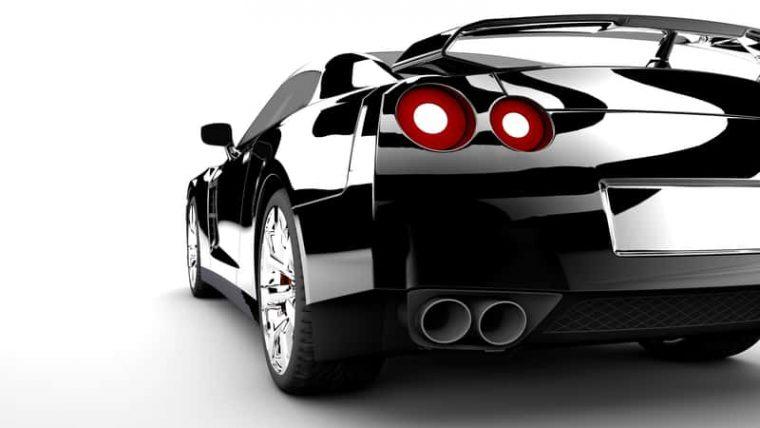 shiny black sports car